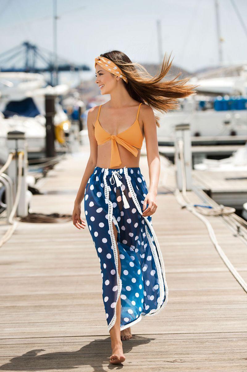 Marinblå strandbyxor med prickar - FLOWING PANTS NAVY POLKA