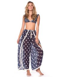 Navy beach dress in white polka dot print and crochet - FLOWING PANTS NAVY POLKA