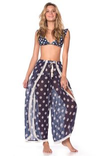FLOWING PANTS NAVY POLKA