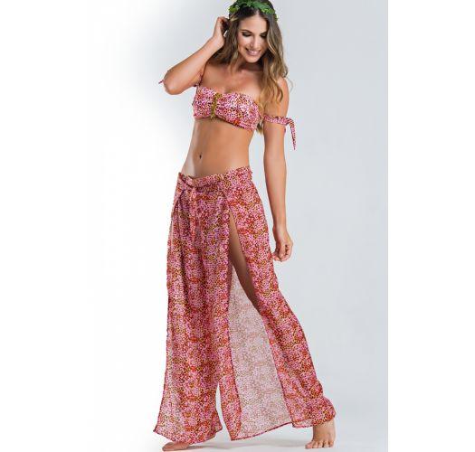 da15132952 Light Long Beach Trousers In Pink Animal Print - Floral Tiger Wrap -  Paradizia