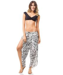 Wide leg botanical print beach pants - BOTANICAL PANTS