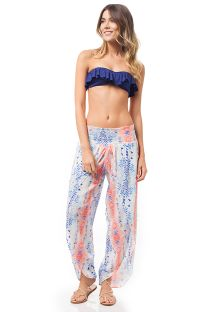 Fluid beach trousers blue/soft orange print - CONGO PANTS