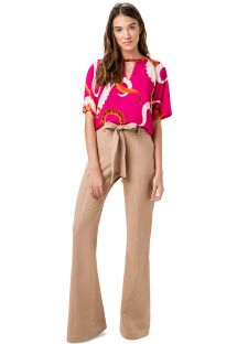 Belted beige flare trousers - CALCA ABERTURA FLARE