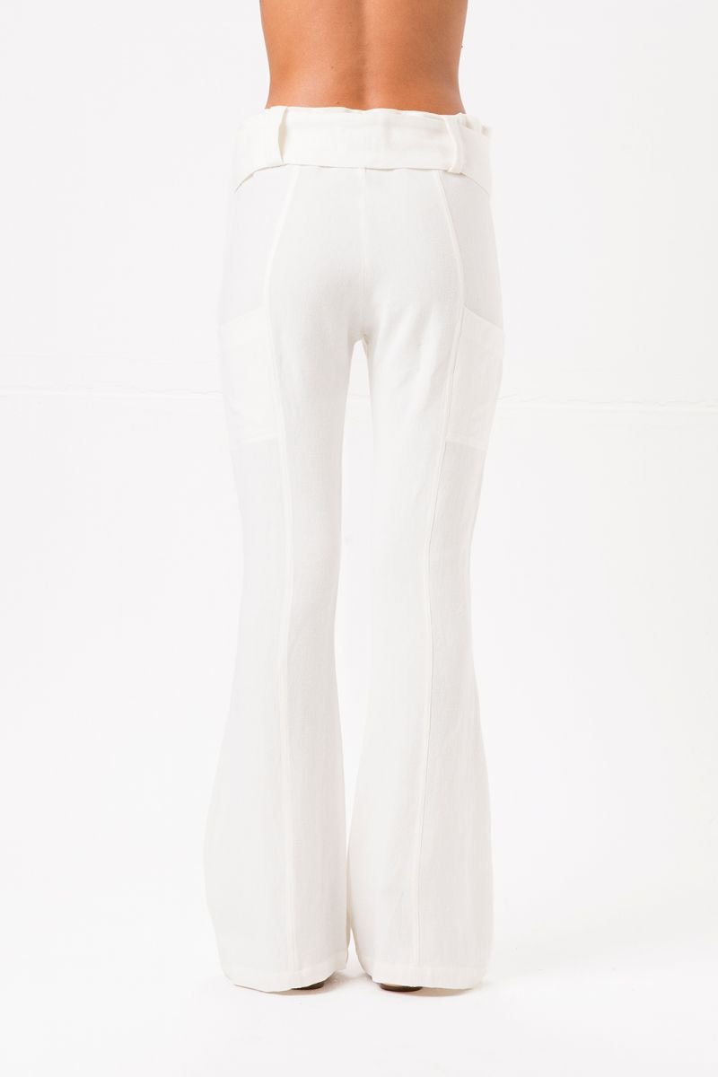 White flared beach trousers with belt - MAR DEL PLATA