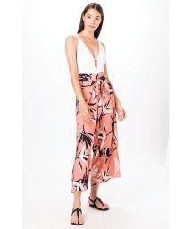 Orange wallet beach pants in floral print - PANTS LARANJA JONES