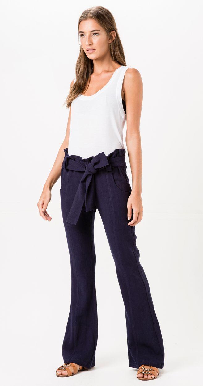 Navy blue flared beach trousers with belt - POERTO IGUAZU