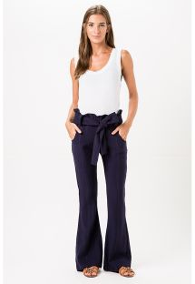 Navy blue flared beach trousers with belt - POERTO IGUAZU