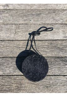 Round shoulder bag in black rattan - BALIBAG BLACK