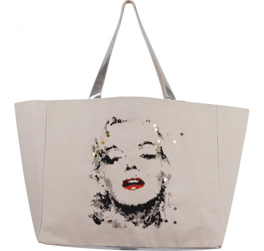 Cabas toile Marilyn Monroe by Ced Vernay-argenté - CABAS JIM BY CED VERNAY SILVER