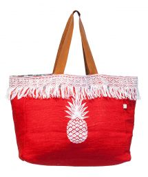Red canvas shopper with fringing and pineapple motif - CABAS JIM PINEAPPLE PIMENT