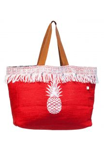 Rode shopper met franje en ananasmotief - CABAS JIM PINEAPPLE PIMENT