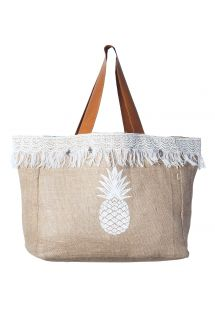 Fringed beige canvas shopper with pineapple motif - CABAS JIM PINEAPPLE SABLE