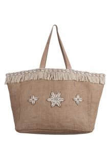 Burlap bag with shells and tassels - CABAS JIM SHELL NATURAL