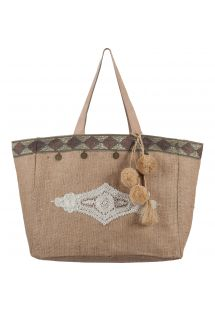 Burlap bag with embroidery and tassels - CABAS JIM SULTANE NATURAL