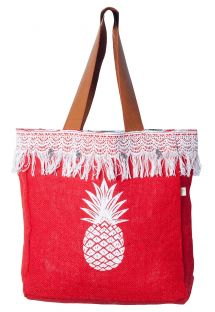 Fringed red canvas shopper with pineapple print - MINI CABAS JIM PINEAPPLE PIMENT