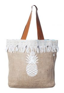 Fringed beige canvas shopper with pineapple print - MINI CABAS JIM PINEAPPLE SABLE