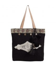 Small black burlap bag with tassels - MINI CABAS SULTANE BLACK