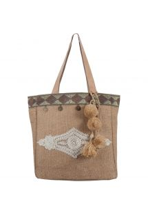 Small embroidered burlap bag with tassels - MINI CABAS SULTANE NATURAL