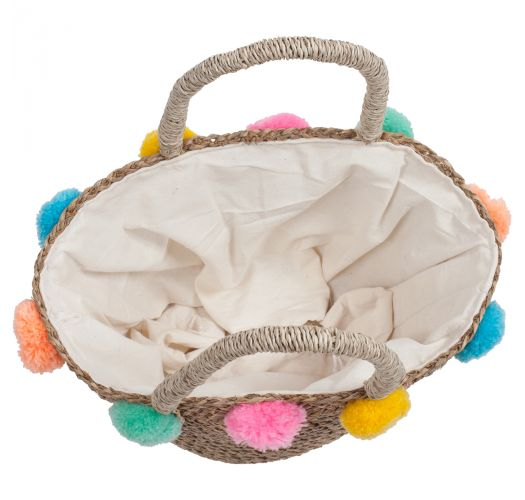 Small straw bag with colorful pompons - MINI RIO MIX
