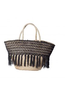 Black straw crochet basket with frills - PANIER RIO BLACK