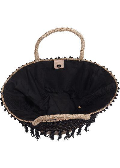 Black straw crochet basket with frills - PANIER RIO BLACK