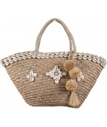 Hand straw basket with decorative shells - PANIER RIO SHELL