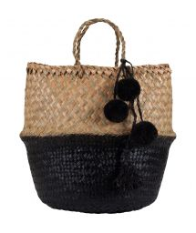 Big black straw bag / basket - PANIER UBUD L BLACK