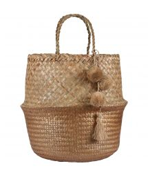 Big gold straw bag / basket - PANIER UBUD L GOLD