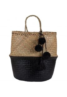 Small black straw bag / basket - PANIER UBUD S BLACK