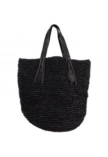 XL black straw bag with leather handles - PANIER XL IBIZA BLACK