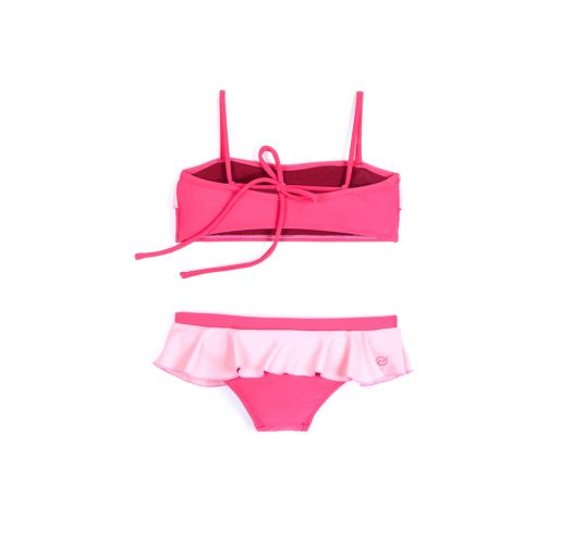 Ruffled two-piece swimsuit in pink - BIQUINI PETECA PINK