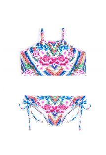 Colorful crop top bikini with floral print - MONICA BELA