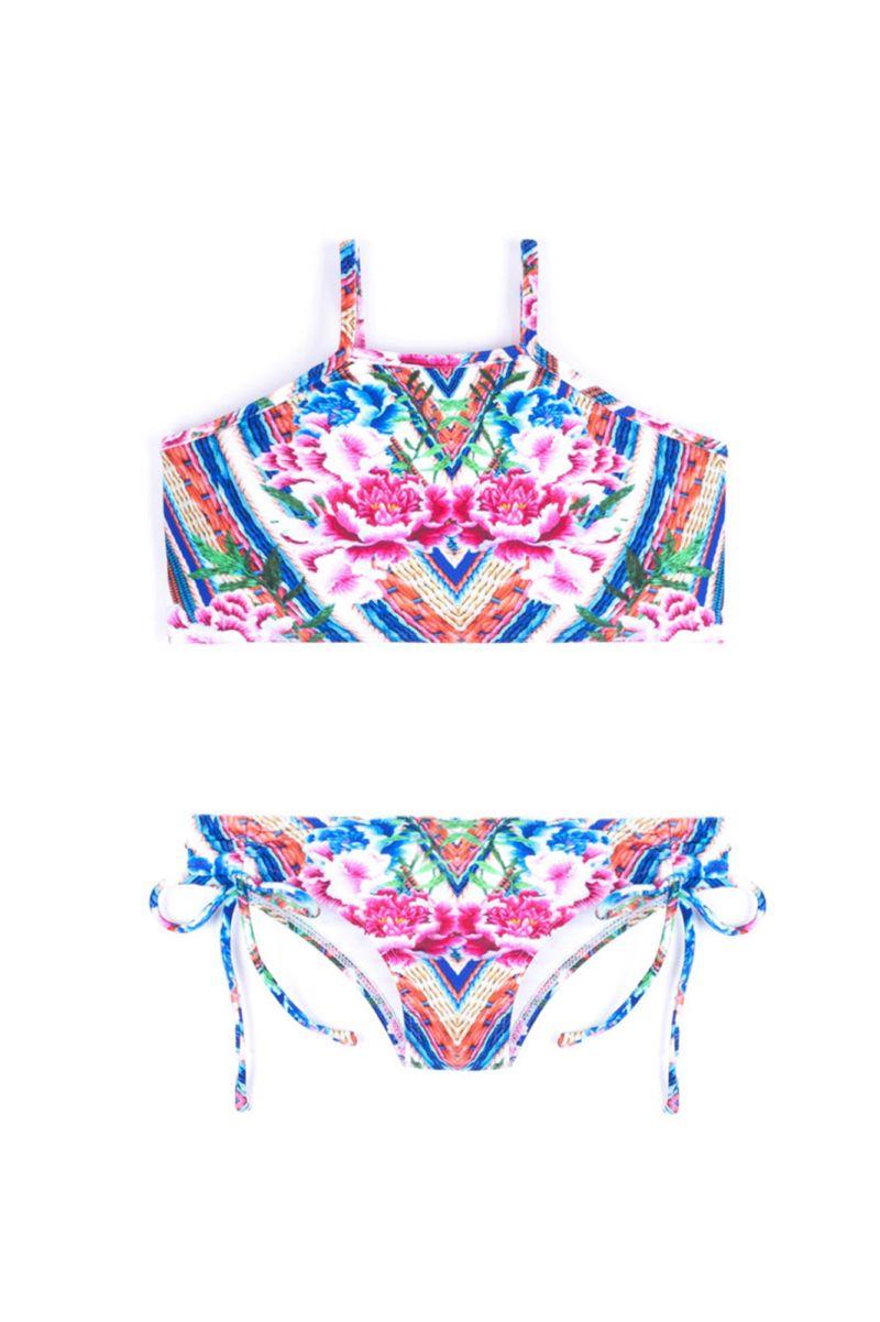 Bikini crop top fille imprimé floral coloré - MONICA BELA