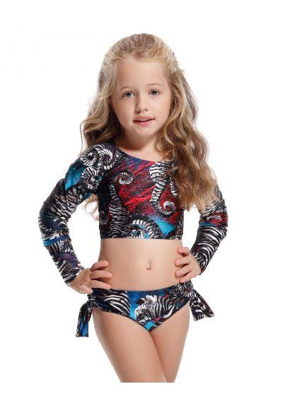 Långärmad crop topp bikini med tryck för flickor - PEIXINHO DOCE