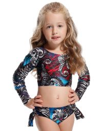 Girl's printed top crop bikini, long sleeved - PEIXINHO DOCE