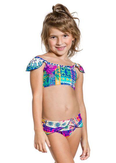 Раздельный купальник для девочек с разноцветным этническим принтом - GIRL FRUFRU ETNICO