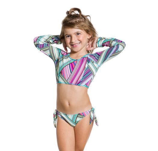 f0140049269a5a Long Sleeves Crop Top Bikini For Girls - Girl Listradinho - Maryssil