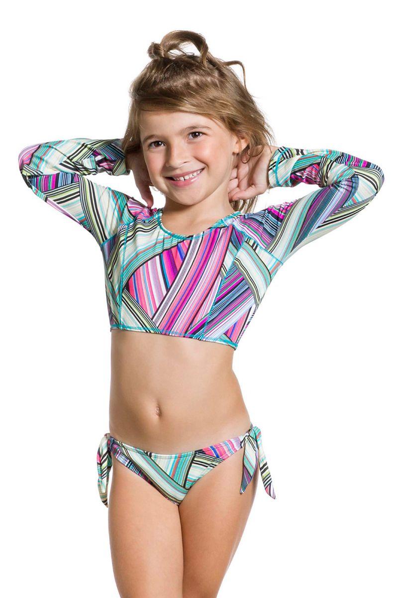 Long sleeves crop top bikini for girls - GIRL LISTRADINHO