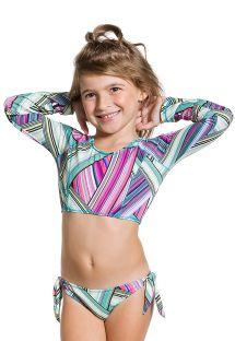 Pitkähihainen lyhyt toppi bikini tytöille - GIRL LISTRADINHO