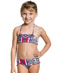 Two-piece swimsuit for girls in pink print - MORANGUINHO