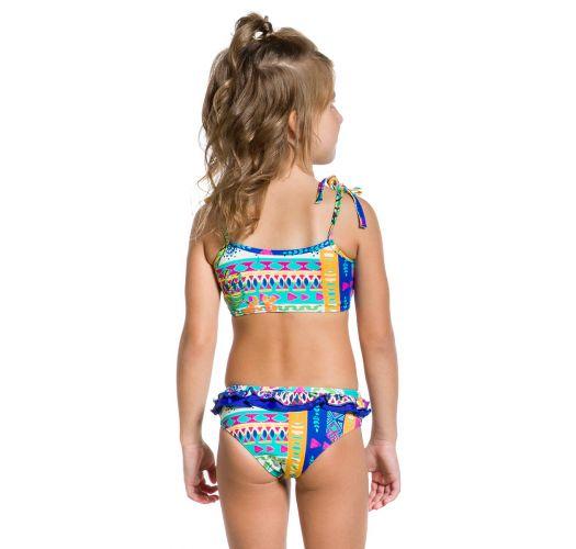 Ethno-Bustier-Badeanzug für Mädchen, Volants - PRAIA COLORIDA
