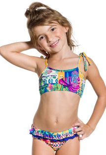 Etnisk bikini med rysjer for barn - PRAIA COLORIDA
