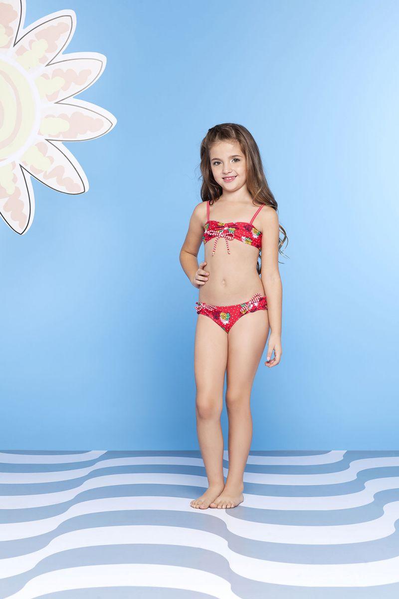 Röd tvådelad baddräkt för flickor - ABACAXI KIDS