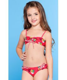 Girl`s red two-piece swimsuit - ABACAXI KIDS