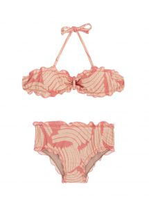 Bandeau bikini with rose print for girls - BANANA ROSE KIDS