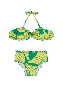 Bandeau bikini with green print for girls - BANANA YELLOW KIDS