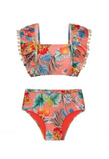Coral pink print girls` two-piece swimsuit with  pompoms - FRUTTI KIDS