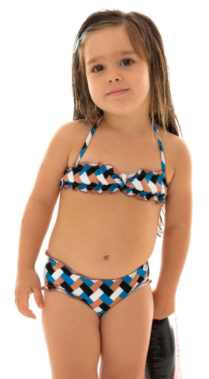 Färgglad bandeaubikini för flickor - GEOMETRIC KIDS