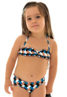 Fargerik bandeau bikini for jenter - GEOMETRIC KIDS
