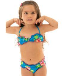 Bikini bandeau fille bleu à fleurs - HOOKERI GIRL